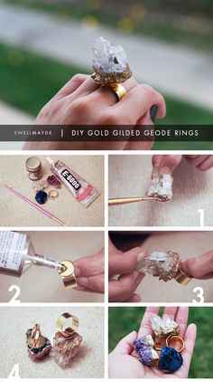 swellmayde: DIY GIFT IDEA | Gold Gilded Geode Ring