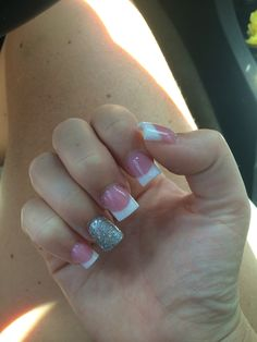 White acrylic sparkle and silver
