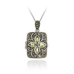 Sterling Silver Marcasite Peridot Flower Locket Pendant