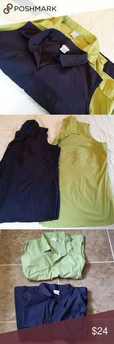 2 sleeveless button down shirt Green and Navy color in great conditions. JG Hooks Tops Button Down Shirts