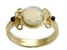 Yellow gold ring inlaid rose cut opalite and by artisanimpact, $466.00