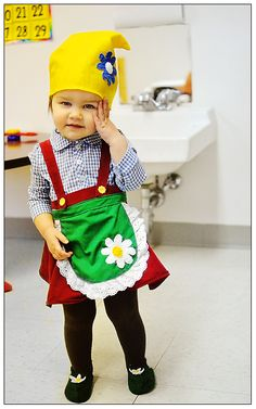 Ava in her garden gnome costume