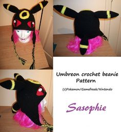 PATTERN  Umbreon crochet beanie  PDF by Sasophie on Etsy, $3.00