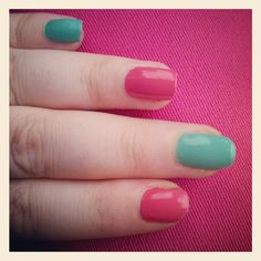 Turquoise and hot pink