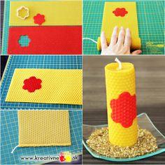 Voňavá medová sviečka vyrobená z včelích plátov.