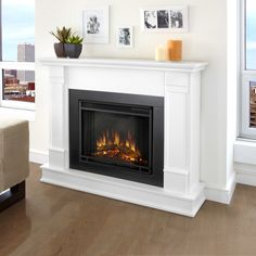 Real Flame - Silverton Electric Fireplace-White, White