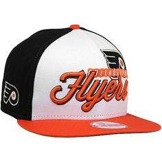 Philadelphia Flyers Hats : New Era Philadelphia Flyers Chriograph 9Fifty Snapback Hat - Orange/Black/White by New Era. $27.95. Adjustable plastic snap strap. 100% Cotton. Structured fit. New Era Philadelphia Flyers Chriograph 9Fifty Snapback Hat - Orange/Black/White100% CottonQuality embroideryImportedSix panels with four eyeletsAdjustable plastic snap strapOfficially licensed NHL productStructured fitFlat billContrast team color panels100% CottonStructured fitAdjustabl...