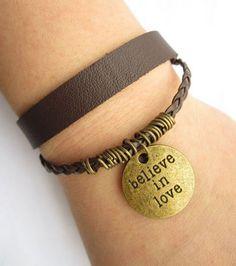 BELIEVE IN LOVE bracelet---double-deck bracelet leather braid chain. $5.50, via Etsy.