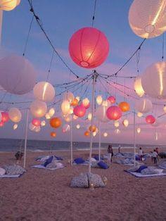 Beach Wedding Reception. Not a fan of the pillow/blanket spots but I love the lights