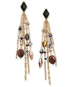 INC International Concepts Gold-Tone Multi-Bead Fringe Earrings, Only at Macy's - Jewelry & Watches - Macy's Bohemian Style Jewelry, Boho Style, Boho Chic, Fringe Earrings, Drop Earrings, Jewelry Trends, Handcrafted Jewelry, Beaded Jewelry, Fashion Jewelry