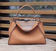 fendi selleria peekaboo bag tan grained leather