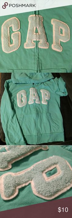 GAP Kids Aqua hoodie size large This barely worn aqua colored hoodie in size large has letters with a bit of sparkle. GAP Shirts & Tops Sweatshirts & Hoodies