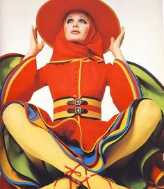 Colourful 1960s fashion photographed by David Bailey.