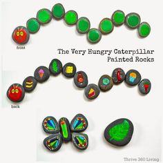 Thrive 360 Living story stone of The hpHungry Caterpillar. Great ideas from this site!