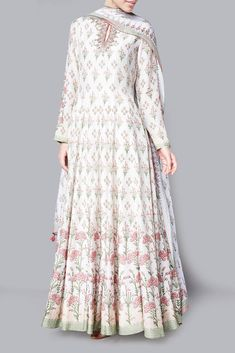 Shop Anita Dongre Natural freeda modal printed kurta with chanderi silk churidar & modal silk mullmull dupatta , Exclusive Indian Designer Latest Collections Available at Aza Fashions Indian Gowns, Indian Attire, Pakistani Dresses, Indian Anarkali, Indian Wear, Boho Style Dresses, Boho Dress, Fashion Dresses, Casual Dresses