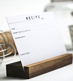 Recipe Card Set & Holder by Yes Ma'am Paper + Goods on Scoutmob Shoppe. Simple, well-designed, functional.
