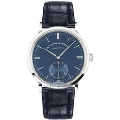 A. Lange & Sohne Saxonia Automatic 38.5mm 380.028 Watch ($24,300) ❤ liked on Polyvore featuring men's fashion, men's jewelry, men's watches, men's blue dial watches, mens blue watches, mens diamond bezel watches and mens white gold watches #men'sjewelry