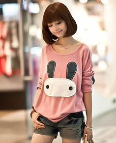 Pink Cartoon Bat Sleeves Loose Long-sleeved Top Free Size Shirt @HX1552p