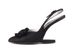 Shoes, Delmanette: ca. 1958-1960, satin uppers, trompe-l'œil heelless heels, rosette at front.