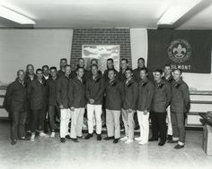 This group portrait was taken at Philmont Scout Ranch in northeastern New Mexico during a 3-6 June 1964 geology field trip. From left to right, they are: Pete Conrad, Buzz Aldrin, Dick Gordon, Ted Freeman, Charlie Bassett, Walt Cunningham, Neil Armstrong, Donn Eisele, Rusty Schweikhart (behind Eisele), Jim Lovell, Mike Collins (partly hidden behind Lovell), Elliot See, Gene Cernan (behind See), Ed White, Roger Chaffee, Gordon Cooper, C.C. Williams (behind Cooper), Bill Anders, Dave Scott ...