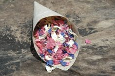 Natural wedding confetti from #britishflowers pink, ivory and blue combination