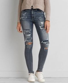 AEO Denim X Café Hi-Rise Jegging (Jeans), Women's, Doppio Destroy