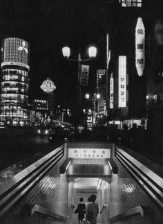 1960's TOKYO AT NIGHT--Metro entrance +