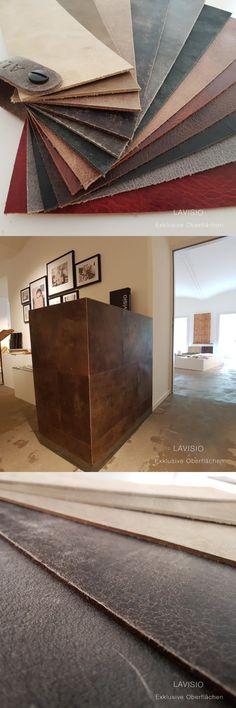 Bei Leder denkt man nicht gleich an Boden oder Wand-aber es eignet sich besonders gut dafür!  Leder hat einen unglaublichen Charakter, der eine ganz besondere individuelle Atmosphäre im Raum schafft! Wir beraten Sie gerne #Leder #Leather #flooring