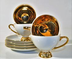 Demitasse gold plated coffee /tea set/ cups and saucer