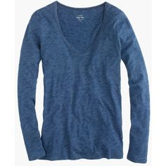 J.Crew Indigo Vintage Cotton Long-Sleeve Scoopneck T-Shirt ($58) ❤ liked on Polyvore featuring tops, t-shirts, j.crew, shirts, scoop neck tee, long sleeve tee, cotton t shirt, scoop neck t shirt and blue long sleeve shirt
