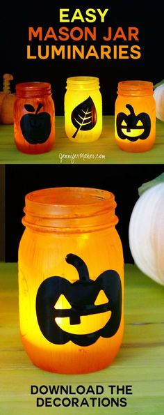 The air has turned crisp here and I'm thinking about pumpkins, candy corn, autumn leaves, and Halloween. I have a big porch, so I thought it would be fun to decorate it with easy Mason Jar luminaries in various fall colors and themes. They are SO simple t