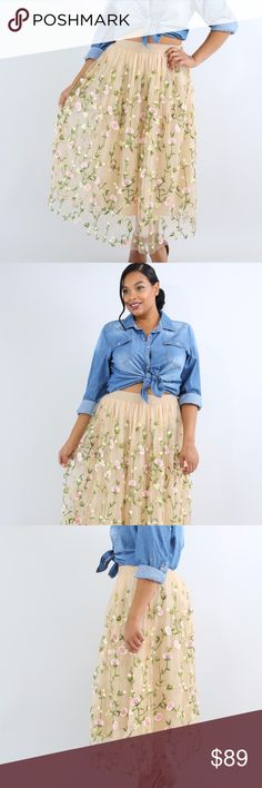Embroidered Floral Skirt This embroidered floral sheer skirt features, a stretch fabric, thick waist band, underlining, floral through out, no closures. Model is wearing a 1X   Hand wash cold water Do not bleach Skirts A-Line or Full