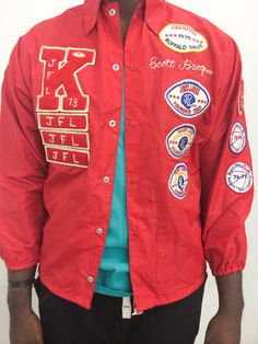 Kirkwood Red All Over Patch Coach Jacket by by AuthenticThrowbacks