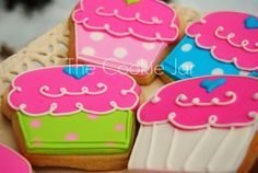 cupcake cookie decoration inspiration    Too good to be true! Whimsical cupcakes in delicious cookie form! I can incorporate just about any design feature into this shape ~ zebra print, names, numbers, or any other theme you can think of! These cookies are 4 inches tall. I do have 2.5 inch and 5 inch sizes available as well.    You'll receive your