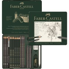 Faber-Castell PITT Graphite tin medium - The professional quality set in a metal case. A carefully selected range of CASTELL 9000, CASTELL 9000 Jumbo and Graphite Aquarelle pencils in lead grades 2B, 4B and 8B, PITT Graphite Pure pencils in hardness grades 3B, 6B, 9B, PITT Graphite crayons in hardness grades 6B, 9B and accessories. Ideal for use on the move.