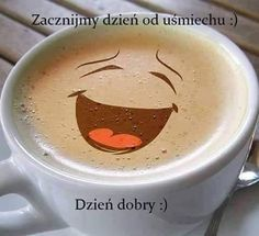 Dzień dobry! Happy Coffee, Coffee Love, Consumer Reports, Coffee Quotes, Healthy Living, Tableware, Gb Bilder, Smile, Humor