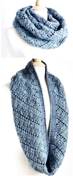 Knitting Pattern for Easy Ascend Cowl - This infinity scarf is easy enough for the beginning lace knitter, according to the designer Robin Ulrich. Rated easy by most Ravelrers. Bulky weight yarn.