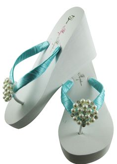 ed0b30bb8b7fd5 Tiffany Blue Bridal Flip Flops with Pearl Embellishment- 3.5 inch heel on  White or Ivory