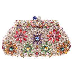 (ファウジーヤ)Fawziya® 太陽の花 クラッチバッグ レディース 結婚式 パーティーバッグ ビジュー-マルチカラー