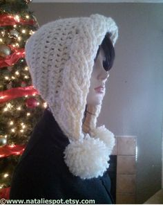 INSTANT DOWNLOAD - SET of Bulky Cables Pom Pom Hood and Chevron Weave Scarf  -  Crochet Pattern