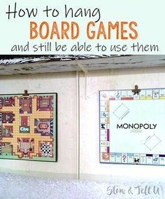 gaming rooms How to hang board game art the easy way! Looking for a quick and easy way to mount or hang board games on the wall as artwork? Here is a simple trick for mounting Game Boards Old Board Games, Board Game Table, Game Boards, Game Room Design, Family Room Design, Hang Board, Board Art, Montage, Game Art