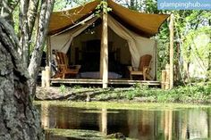 The ultimate luxury - pulling up to an elegant safari tent in Carolinian Canada.