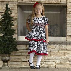 Girls Black Damask Smock Bishop Dress