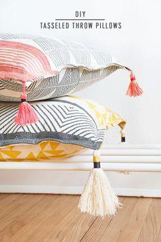 DIY Tasseled Throw Pillows by Ashley Rose of Sugar & Cloth, a top lifestyle blog in Houston, Texas #diy #pillows #homedecor #modern #bohodecor #tassel #accessories