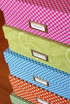 Fabric Covered Boxes:    boxes and shoeboxes.Make boxes and shoe boxes into pretty and stackable storage by covering them with the fabric leftovers.  To see more: http://inmyownstyle.com/2012/10/one-yard-decorating-how-to-cover-a-box-with-decorative-fabric.html