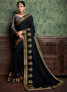 7962b1396a60b Black Embroidery Work Silk Fancy Bordered Saree. Designer Silk SareesTrendy  CollectionPure Silk SareesBlack PartyBuy Sarees OnlineIndian ...