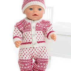Jakke, bukse, lue og sokker - Viking of Norway Knitting Dolls Clothes, Doll Clothes, Viking Baby, Baby Born, Baby Knitting Patterns, Doll Toys, Crochet Hats, Rompers, Norway
