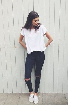 Simple ripped jeans are a great addition to your favorite Sevenly tee.