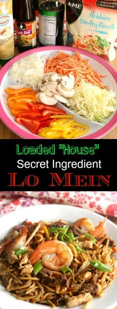 """Better than take out with this one secret ingredient! This Loaded """"House"""" Lo Mein is quick cooking, easy to prepare and loaded with savory umami flavor! Asian Recipes, New Recipes, Dinner Recipes, Cooking Recipes, Favorite Recipes, Healthy Recipes, Ethnic Recipes, Oriental Recipes, Chinese Recipes"""