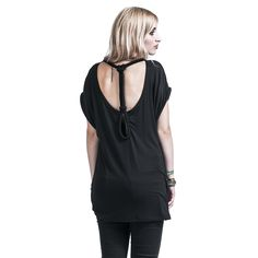 """Maglietta donna a maniche corte nera """"Backstring"""" del brand #Rockupy con scollo tondo, spalle che cadono morbide, laccetto e scollo sul retro."""